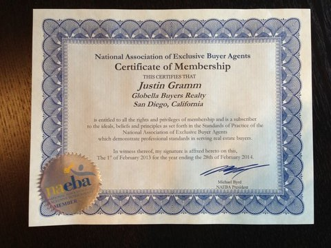 San Diego Exclusive Buyer Agent - NAEBA Certificate 2013