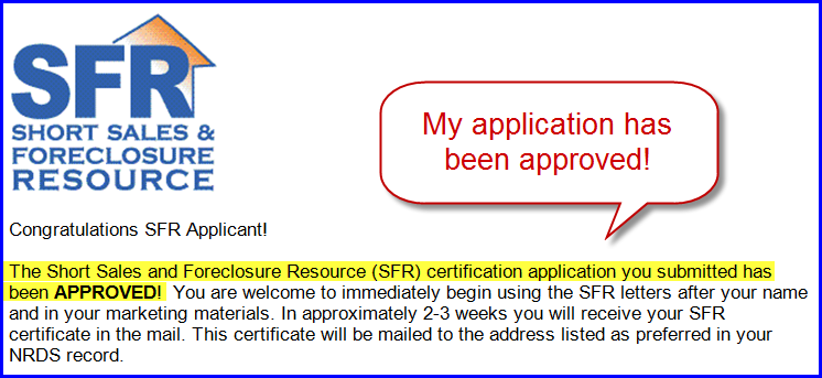 SFR Application - Approved!